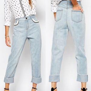 Suncoo Loose Denim Jeans embellished Pocket 34